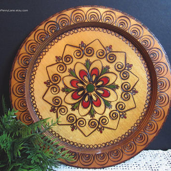 Vintage Carved / Painted Wood Plate / Wall Art, Polish Folk Art, 10 Inch