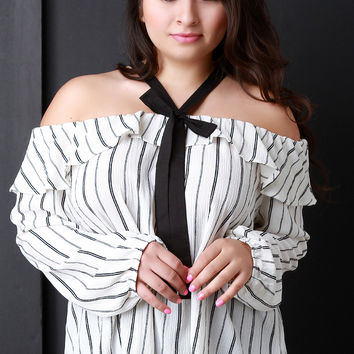 Crinkle Pinstripe Off The Shoulder Ruffle Bow Top