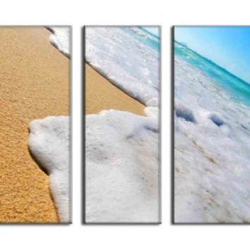 Wave Beach Canvas Print Art Photo Painting HUGE Sea Nature Picture LARGE Ready to Hang- 5 PANELS