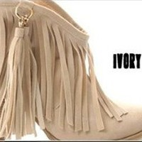 Fashion Fringe Women's High Heel Ankle boots 6 color Tassel shoes US5-8.85