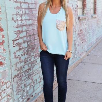 Pocket Sequin Tank {Mint}