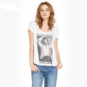 DCCKL3Z European Style Summer Casual Women T Shirt David Bowie Print Graphic Top Tees White V-Neck Cotton Short Sleeve T-Shirts