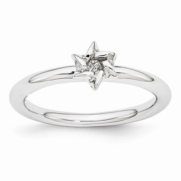 Rhodium Plated Sterling Silver Stackable 7mm Star of David Ring