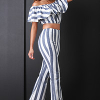 Striped Chambray Flare Pants