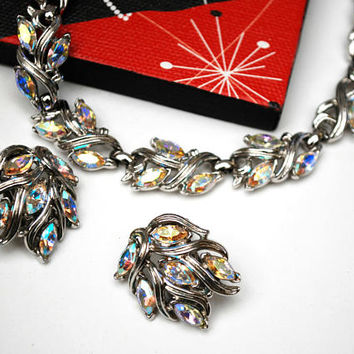 Trifari Rhinestone Necklace and Earrings set - Aurora Borealis -Silver - Mid Century