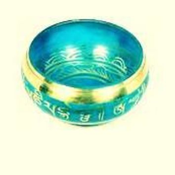 Blue Singing Bowl HIMALAYAN hand hammered CHAKRA MEDITATION ~ॐ