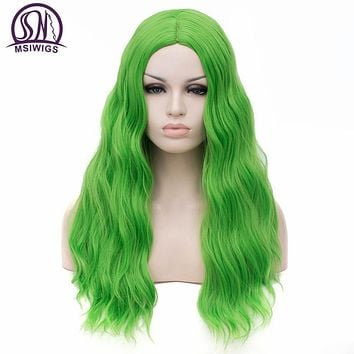MSIWIGS Wavy Synthetic Wigs for White Black Women Long Green Wig Cosplay Heat Resistant Rose Net Natural Hair with Bangs
