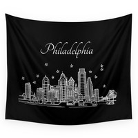 Society6 Philadelphia, Pennsylvania City Skyline Wall Tapestry