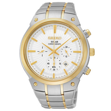 Seiko SSC318 Men's Watch Two-Tone Solar Chronograph White Dial