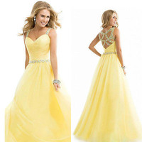 New Long Chiffon Bridesmaid Formal Gown Ball Wedding  Prom Party Dress