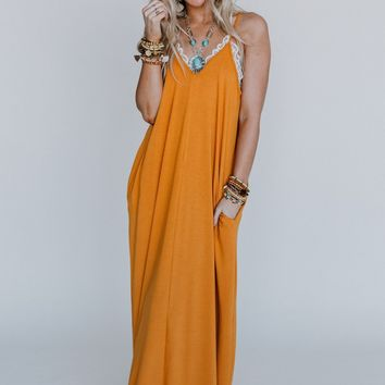 Desert Oasis OOTW Maxi Dress with Necklace Set - Mustard