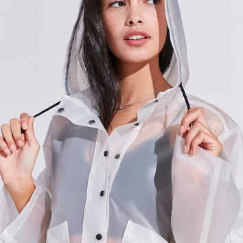 Silence + Noise Bess Clear Cropped Raincoat   Urban Outfitters