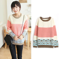 Color Block Knitted Long Sleeve Pullover Sweater