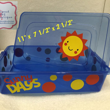 Personalized plastic boxes, free shipping, custom small totes, small toy container, cosmetics holder, kitchen,car, cupboard, meds organizers
