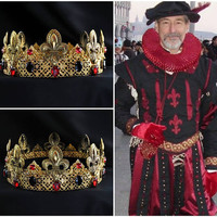 Tudor Crown, Tudor male costume, The Tudors, Gold Red Men's crown, male crown, medieval