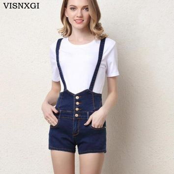 VISNXGI 2018 Summer Button Denim Shorts Women Slim Strap Denim Overalls Jeans Pocket Fashion College Wind Women Vintage Shorts