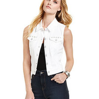 Levi's Vest, Sleeveless Denim Studded, Winter White Wash - Women - Macy's