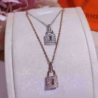 ONETOW Hermes Woman Fashion Diamonds Lock Necklace Jewelry