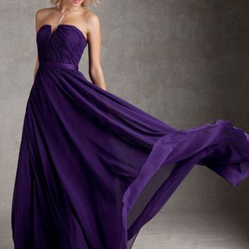 Custom Made Bridesmaid Dress - Sweet Heart Neckline - Chiffon Gown - Various Colors - Prom Dress