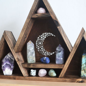 Geometric Shelf, Triangle shelf Mandala Moon, Triple Mountain Wooden Shelf