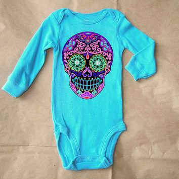 Turquoise Skull Creeper. Long Sleeve bodysuit. Trendy Baby. Cool toddler clothes. 3m 6m 12m Purple Sugar Skull Graphic. bodysuit Onesuit