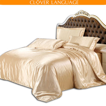 Home Textile Pure Satin Silk Bedding Set, Queen King Size Bed Set,bedclothes,4Pcs of Mattress Cover Duvet Cover Bed Sheet