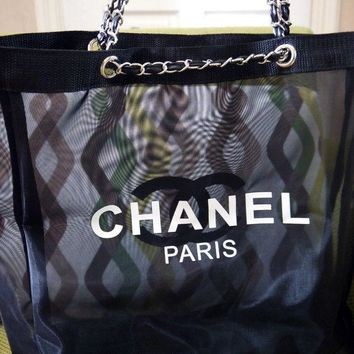 CHANEL Mesh Shopping Beach Tote bag Counter Leather SILVER Chain VIP Gift- Large