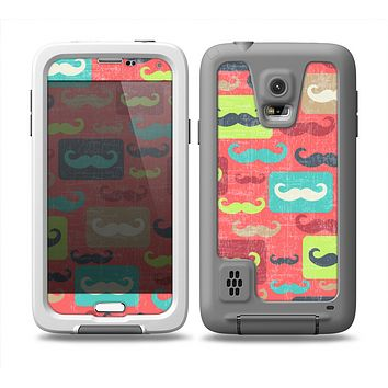 The Vintage Coral and Neon Mustaches Skin Samsung Galaxy S5 frē LifeProof Case
