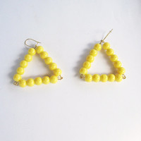 Yellow beaded triangle earrings