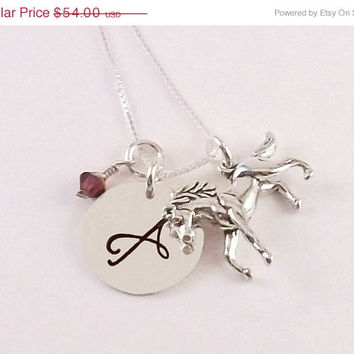 On Sale Sterling Silver Hand Stamped Equestrian Initial Necklace, Horse Charm Necklace with Horse Charm and Swarovski Crystal Birthstone Dan