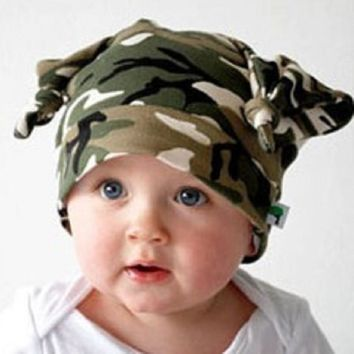Camouflage Baby Hats Cotton Newborn Cap Camo Beanies Boys beret Hat Kids Horn Caps Children Bucket Hat Bonnet