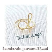 Initial Ring Handmade Personalized Bridesmaid Initial by laosborn #rings #jewelry #cute #personalized #girls #women #custom #designer #want