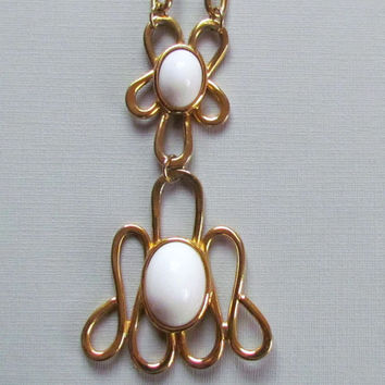 Mod Gold Pendant Necklace White Cabochons 1960s
