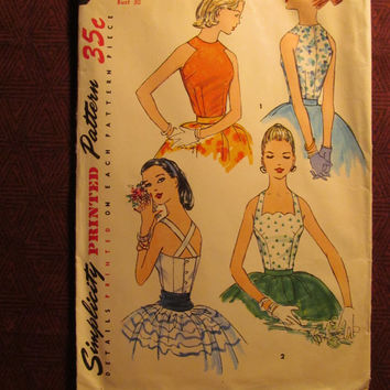 Uncut 1940's Simplicity Sewing Pattern, 1661! Size 12 Medium/Women's/Misses/Juniors/Scalloped Halter Top Blouses/Sleeveless/Button Up Back