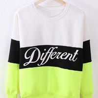 "Color Block ""Different"" Letter Print Long Sleeve Sweatshirt"