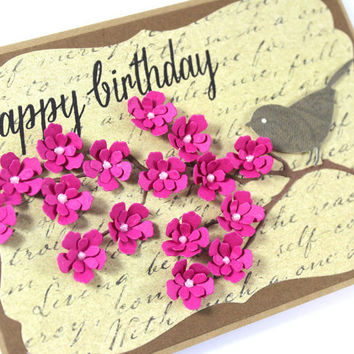 Best handmade cards with flowers products on wanelo birthday card handmade card pink flowers bird card thecheapjerseys Images