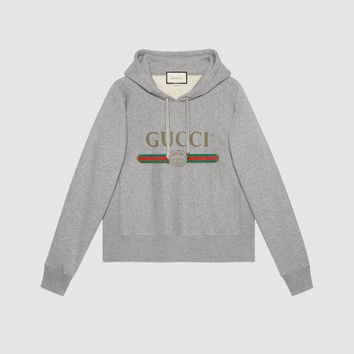 Gucci Hooded cotton sweatshirt with Gucci print