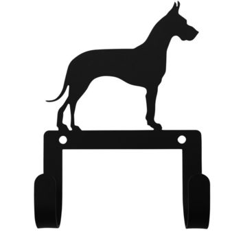 Wrought Iron Great Dane Dog Leash & Collar Wall Hook