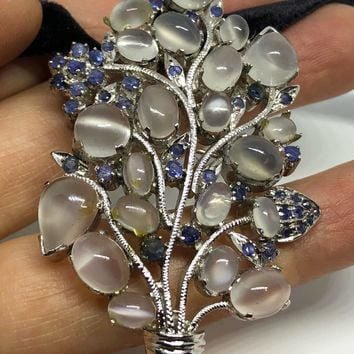 Vintage Handmade White Moonstone and Genuine Sapphire 925 Sterling Silver Rhodium Brooch Necklace