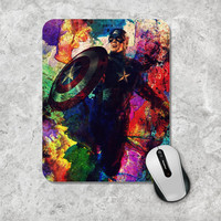 Superhero Captain America Mousepad, The Avengers Marvel Comic Mouse Pad, Watercolor Mouse Mat, Personalized, Custom