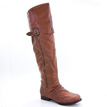 Rascal02 Chestnut Pu By Bamboo, Women Thigh-High Riding Boot Buckle Zipper Faux Fur Lining