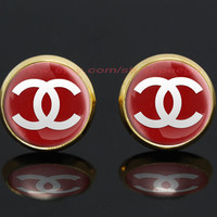 CHANEL logo gold plated stud post earrings,girlfriend gift Bridesmaid Gift