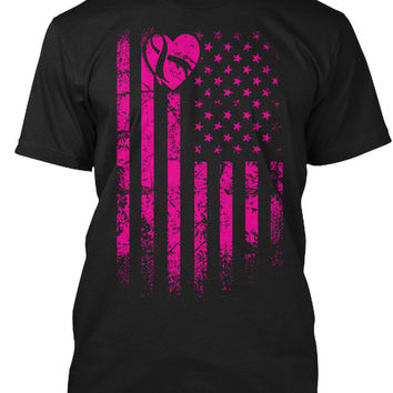 Pink Ribbon American Flag Breast Cancer
