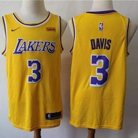 2019-2020 L.A. Lakers 3 Anthony Davis Yellow Basketball Jersey