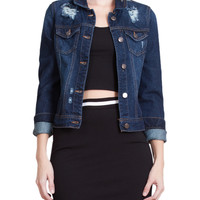 LE3NO Womens Classic Long Sleeve Ripped Distressed Denim Jacket with Pockets