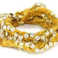 "Ettika ""Vintage Ribbon"" Gold Rhinestone Mustard Wrap Tennis Bracelet - Like Love Buy"