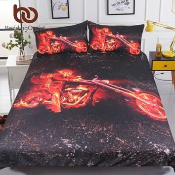 BeddingOutlet Flame Motorcycle Bedding Set Queen 3D Printed Duvet Cover Red And Black Bedclothes 3pcs Engine Bedspreads For Boys