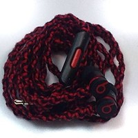 MyBuds Wrapped Tangle-Free Earbuds for iPhone   Black & Red Genuine Beats urBeats