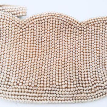 Vintage 1940's Seed Pearl Evening Bag Purse - Made In Japan/Japanese