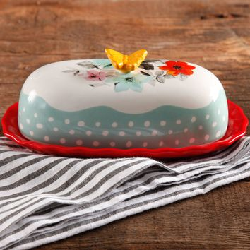 "The Pioneer Woman Flea Market Decorated Floral 6.4"" Butter Dish - Walmart.com"